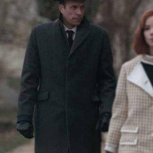 Mr. Booth The Queen's Gambit John Schwab Grey Trench Coat