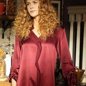 Grace Fraser The Undoing Nicole Kidman Maroon Silk Shirt