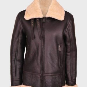 Women's Brown B3 WW2 Sheepskin Shearling Leather Jacket