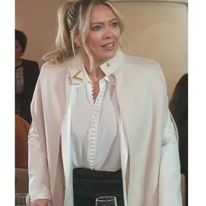 Kelsey Peters Younger Hilary Duff White Cape Coat