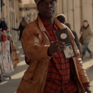 Assane Diop TV Series Arsene Lupin Omar Sy Brown Leather Jacket