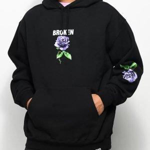 Broken Promises Black Hoodie Thornless Black Pullover Hoodie