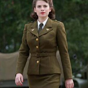 Hayley Atwell Captain America The First Avenger Peggy Carter Military Green Jacket