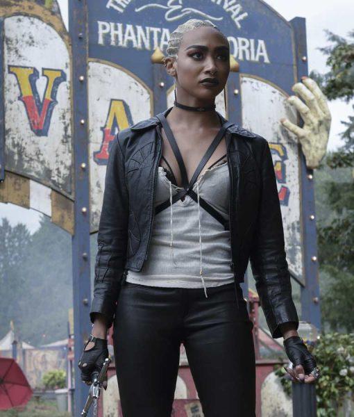 Tati Gabrielle Chilling Adventures of Sabrina Black Leather Jacket
