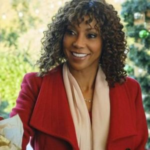 Holly Robinson Peete Christmas in Evergreen Bells Are Ringing Trench Red