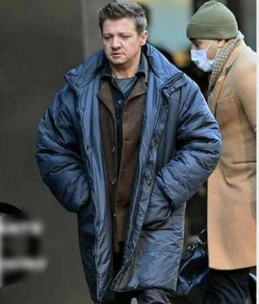 Jeremy Renner Hawkeye Clint Barton Black Puffer Coat