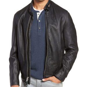 Mens Classic Vintage Cowhide Leather Jacket Moto Black Jacket Mens