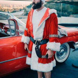 Santa Claus Dan Bilzerian Trench Red Christmas Coat