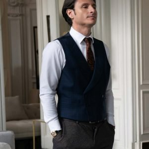 Charles Martins Emily in Paris Mathieu Cadault Blue Double-Breasted Vest