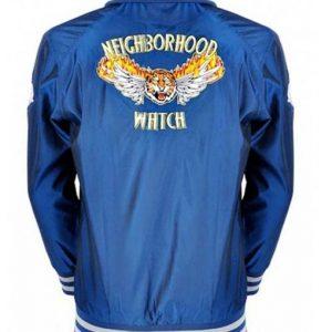 Evan The Watch Ben Stiller Blue Satin Varsity Jacket