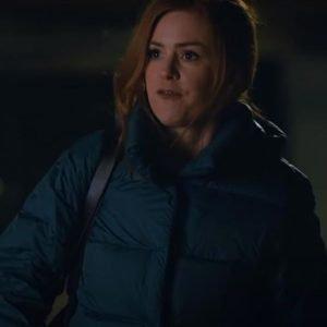 Isla Fisher Godmothered Mackenzie Blue Puffer Jacket