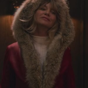 Mrs Claus The Christmas Chronicles Goldie Hawn Red Shearling Leather Jacket