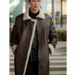 Ahn Bo-Hyun Itaewon Class Jang Geun Won Brown Leather Coat