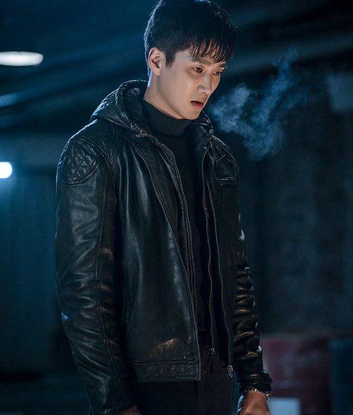 Ahn Bo-Hyun Itaewon Class Jang Geun Won Black Leather Hooded Jacket