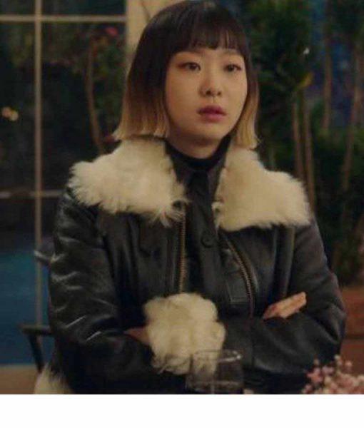 Kim Da-Mi Itaewon Class Jo Yi Seo Black Leather Shearling Trim Jacket