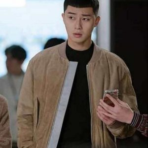 Park Seo-Joon Itaewon Class Brown Suede Leather Park Sae Ro Yi Bomber Jacket