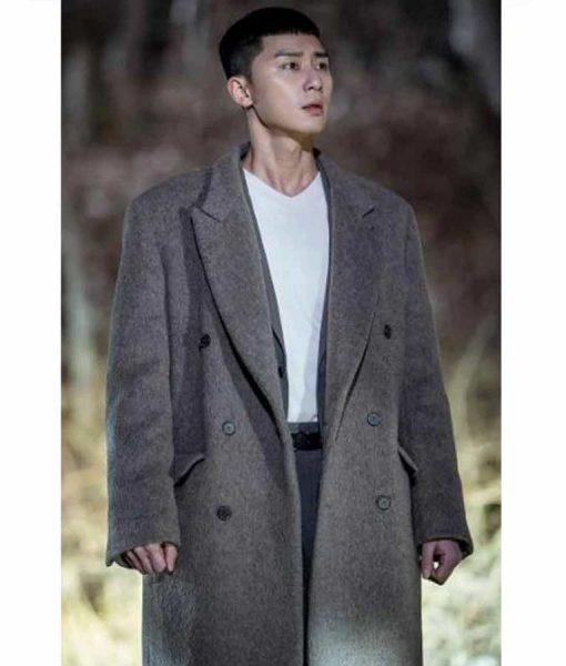 Park Seo-Joon Itaewon Class Park Sae Ro Yi Grey Double-Breasted Coat