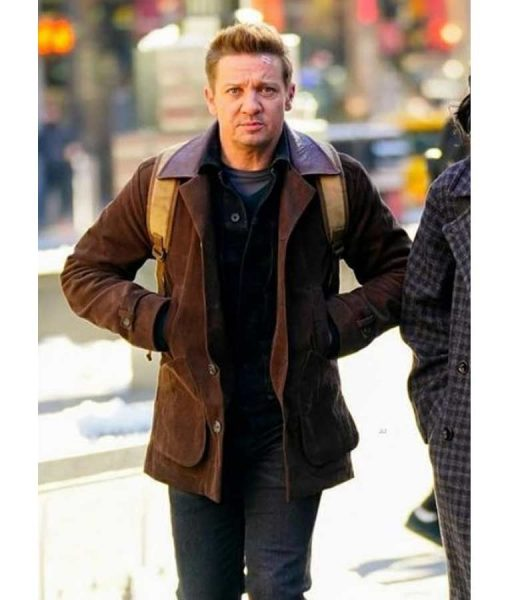 Jeremy Renner Hawkeye 2021 Clint Barton Brown Leather Jacket