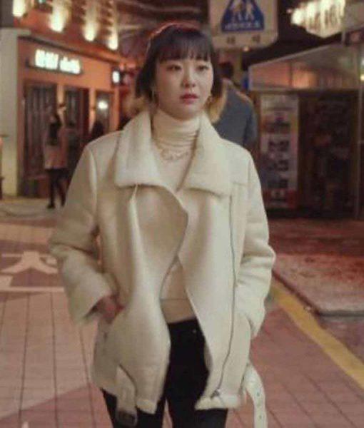 Jo Yi Seo Itaewon Class Fur Jacket Kim Da-Mi White Fur Jacket