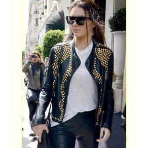 Golden Studded Kendall Jenner Biker Genuine Leather Jacket