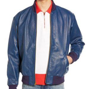Mens Blue Slimfit Leather Bomber Jacket