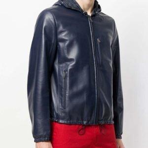 Blue Slim Fit Hooded Leather Jacket for Mens