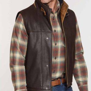 Mens Brown Premium Lambskin Leather Vest for Sale