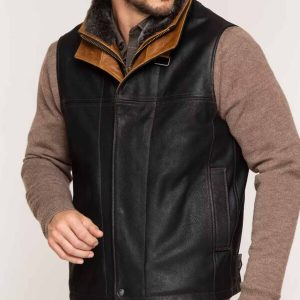 Mens Goatskin Leather Vest Classic Style Men's Goat Skin Leather Vest