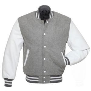 Grey Varsity Wool Leather Jacket