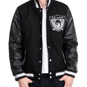 Oakland Raiders Black Men's Letterman Varsity Bomber Jacket