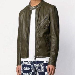 Slimfit Cafe Racer Bomber Leather Jacket for Mens