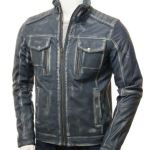 Waxed Mens Blue Leather Jacket for Sale
