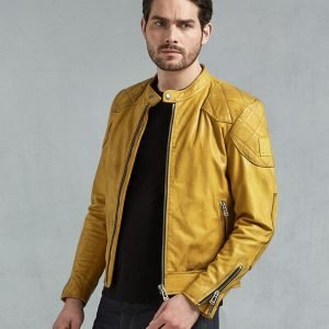 Yellow Leather Biker Jacket for Mens