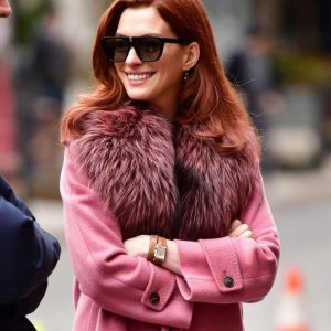 Lexi Pink Modern Love Anne Hathaway Coat with Fur Collar