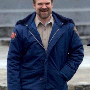 David Harbour Stranger S02 Things Jim Hooper Blue Shearling Hooded Jacket