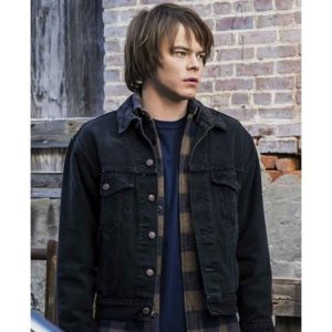 Charlie Heaton Stranger Things Jonathan Byers Black Denim Jacket