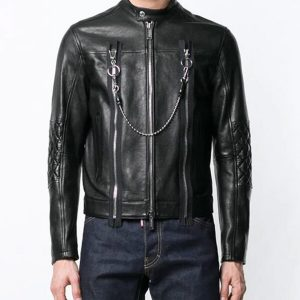 Mens Black Leather Cafe Racer Jacket
