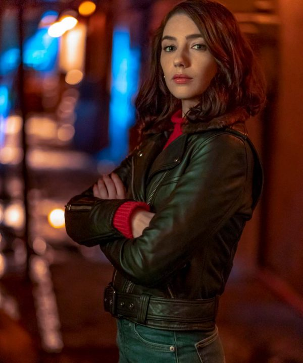 Natalie Dreyfuss TV Series The Flash S06 Sue Dearbon Black Leather Jacket
