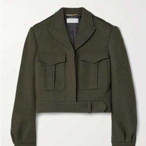 Annie Mouradian The Flight Attendant Zosia Mamet Green Wool-blend Jacket