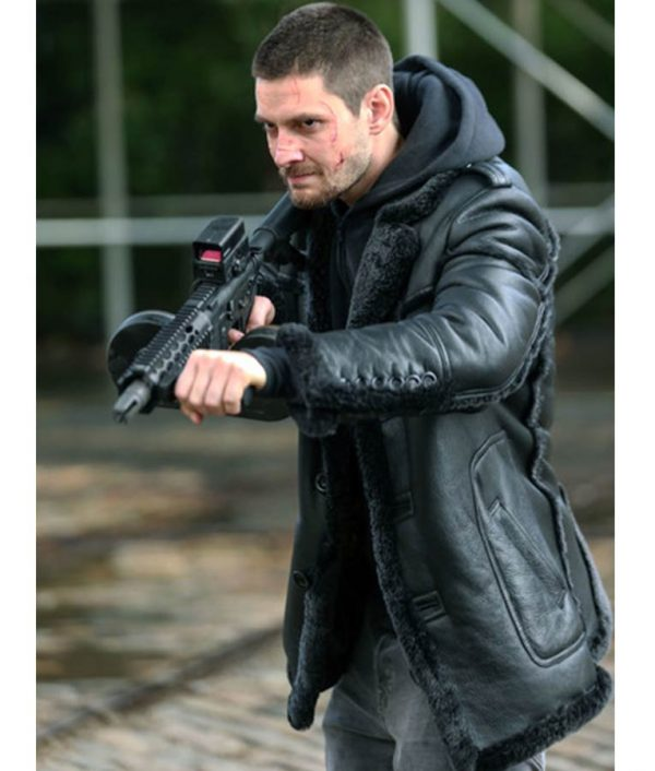 Ben Barnes The Punisher 2 Billy Russo Black Leather Shearling Coat