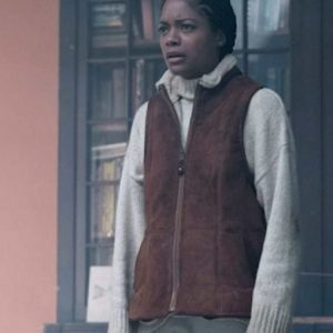 Helen The Third Day Naomie Harris Brown Suede Leather Vest