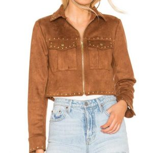 Mariah Copeland The Young and the Restless Suede Leather Jacket with Studs