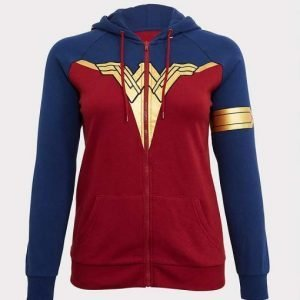 Wonder Woman Red And Blue Pullover Hoodie