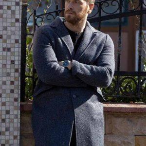 Engin Öztürk TV-Series 50M2 2021 Trench Grey Wool-Blend Coat