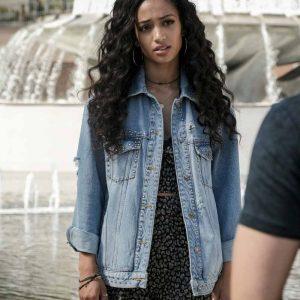 Olivia Baker TV Series All American Samantha Logan Blue Studded Denim Jacket