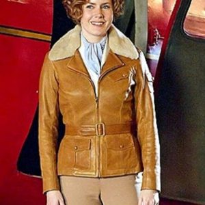Night at the Museum 2 Amy Adams Aviator Fur Brown Leather Jacket