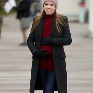 Darby Love Life Anna Kendrick Black Wool-blend Trench Coat