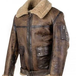 Men Arnold Schwarzenegger Aviator RAF B6 Shearling Leather Flying Bomber Jacket