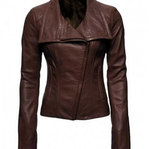Lyla Michaels Arrow TV Series Dark Brown Leather Jacket