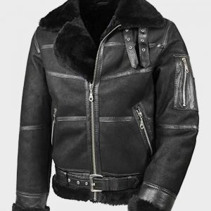 Mens Aviator B16 Black Real Sheepskin Shearling Leather Jacket